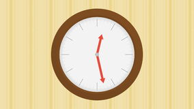 Wood clock on wall with stripped wallpaper with one hour passing stock footage