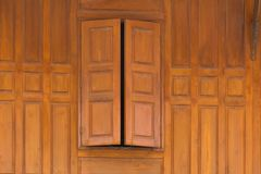 Wood Close window and wood wall  thai style house Stock Photos