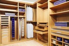 Wood closet. Classic wood modern closet background stock photos