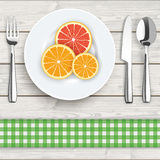 Wood Cloth Knife Fork Spoon Plate Citrus Fruits Royalty Free Stock Photo