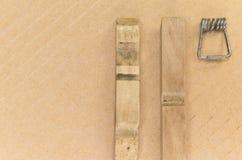 Wood clothespin parts Royalty Free Stock Photo