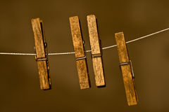 Wood Clothespins Stock Image