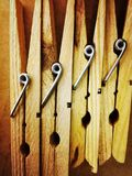 Wood clothespins Royalty Free Stock Images
