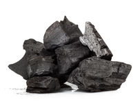 Wood coal. Piece of fractured wood coal isolated over white background Stock Photography
