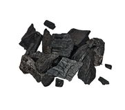 Wood coal, pile charcoal isolated on white Stock Photography