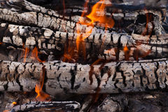 Wood coals and flames Stock Photography