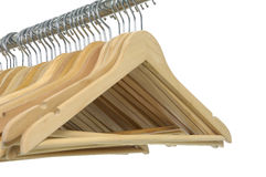 Wood coat hanger royalty free stock image