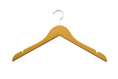 Wood coat hanger. Stock Photos