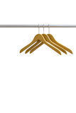 Wood coat hanger isolated on the white background Stock Photography