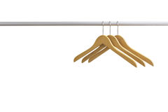 Wood coat hanger isolated on the white background Royalty Free Stock Images