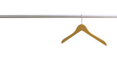 Wood coat hanger isolated on the white background Stock Photos