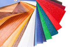 Color samples. Wood coating color samples closeup picture Royalty Free Stock Photos