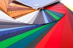 Color samples. Wood coating color samples closeup picture Stock Images