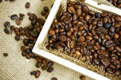 Wood Coffee Box Royalty Free Stock Images