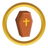 Wood coffin vector icon Stock Images