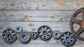 Wood Cogs Technology Industry Background Stock Photo