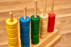 Wood color abacus royalty free stock images