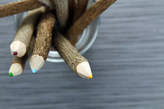 Wood color pencils Royalty Free Stock Images