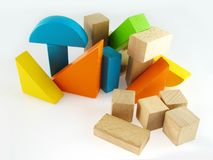 Wood color toy blocks. Isolated on the white background Stock Photos