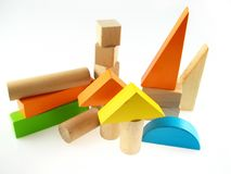 Wood color toy blocks stock photography