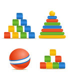 Wood color toys. Pyramid, ball and cubes Stock Photos
