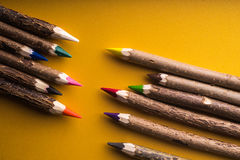 Wood colored pencils Royalty Free Stock Photography