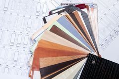 Wood colorful samples with kinds of doors Stock Photos
