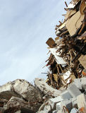 Wood,concrete rubble and twisted metal skyline on a demolition s Royalty Free Stock Images