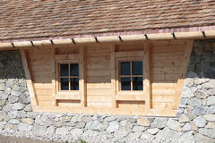 Wood construction. Detail of a house built of wood in Val Venosta in South Tyrol Royalty Free Stock Images