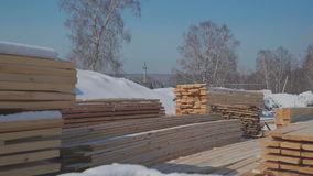 Wood construction and the production of laminated veneer lumber stock video