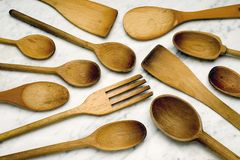 Wood cooking spoons Royalty Free Stock Images