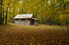 Wood cottage surrounded by fall color trees. Wooden cottage with chimney surrounded by fall color trees stock images