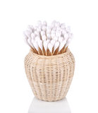 Wood , cotton buds isolated on white background. Royalty Free Stock Image