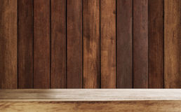 Wood counter top with wood wall planks Royalty Free Stock Image