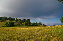 Wood in countryside. Scenic view of dark clouds over wood in countryside Royalty Free Stock Photo