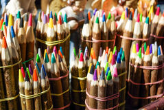 wood covered colorful  pencils in bundles Royalty Free Stock Photos