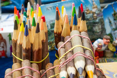 wood covered colorful  pencils in bundles Stock Photos