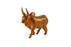 Wood cow on the white background Royalty Free Stock Photo