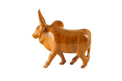 Wood cow on the white background Royalty Free Stock Images