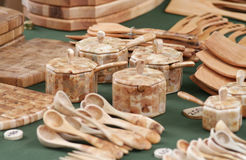 Wood Craft Collection. Wooden hand crafted items of different kind royalty free stock photo
