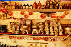 Wood crafts. Different crafts made from wood that are being sold in the Philippines stock photo