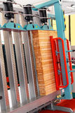 Wood cramp machine. Vertical cramp machine for wood in workshop stock image