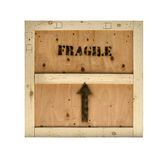 Wood crate fragile stamp. Wood crate fragile mark on box isolated against white Stock Image