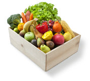 Wood Box Food Fruit Vegetables. A wood box full fresh of fruit and vegetables on a white background Stock Image