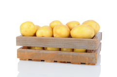 Wood Crate Full of White Potatoes Royalty Free Stock Photos