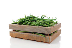 Wood Crate with Green Beans Stock Photography