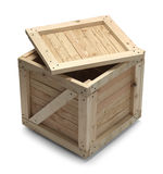 Wood Crate and Lid. Wooden Crate With Lid Open Isolated on White Background royalty free stock images