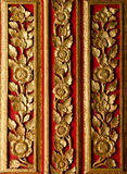 Wood crave pattern on the door in the temple Royalty Free Stock Photography