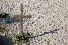 Wood Cross. A wood cross on the beach Stock Photography