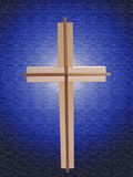 Wood Cross on Blue. Textured background stock illustration